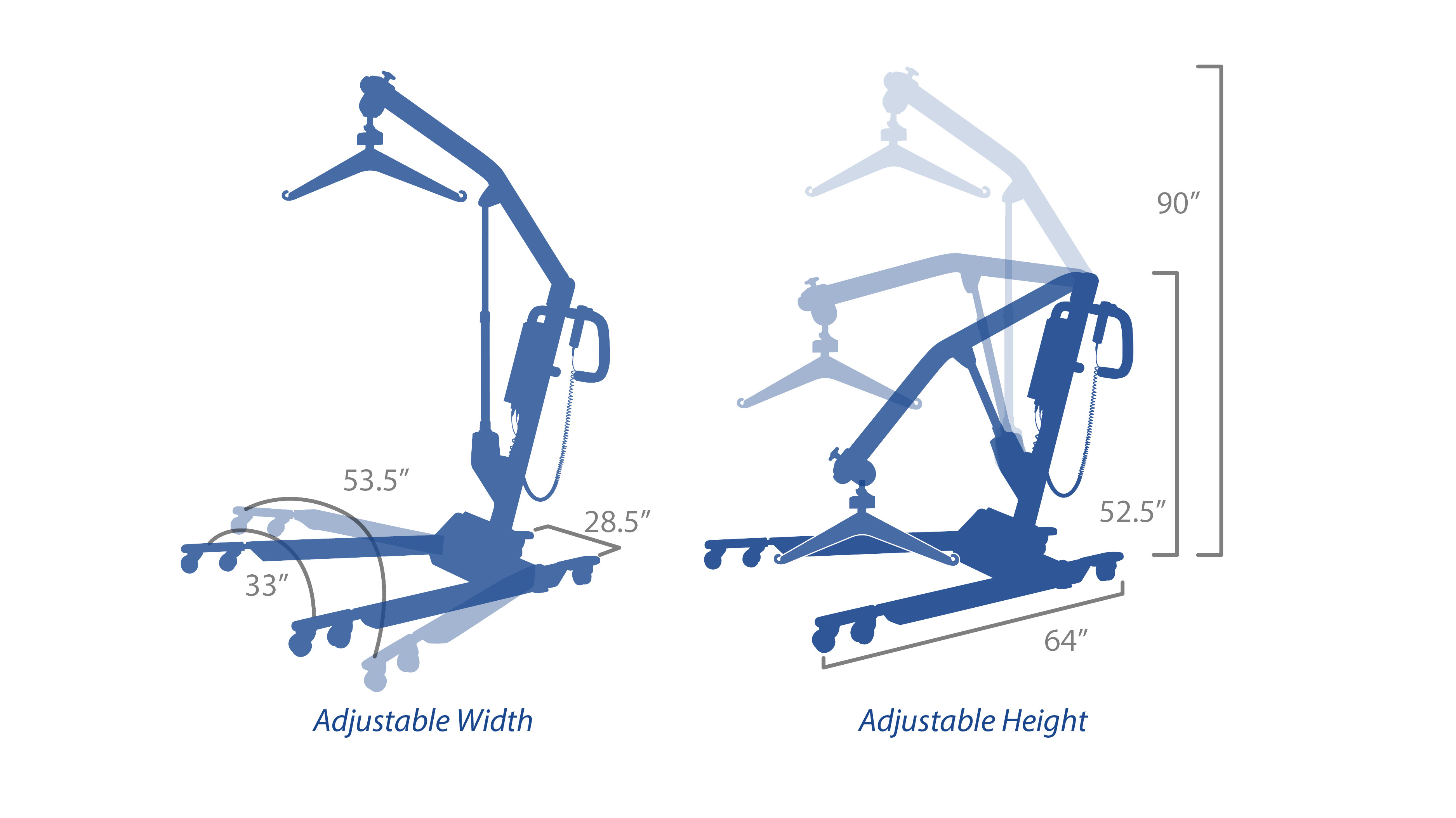 "Adjustable-width wheelbase provides enhanced stability; lift extends up to 90"" tall"